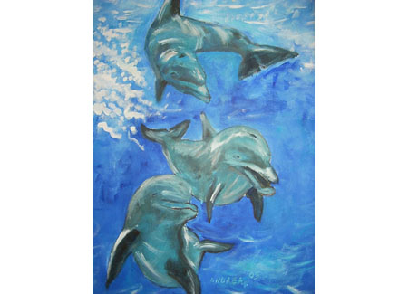 Art Work - Playing dolphins